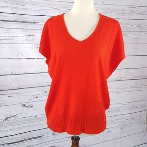 New York & Co. Knit Orange Dolman Short Sleeve Top
